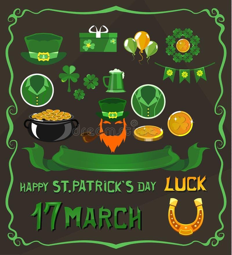 Satz Gegenstände auf St- Patrick` s Tagesthema