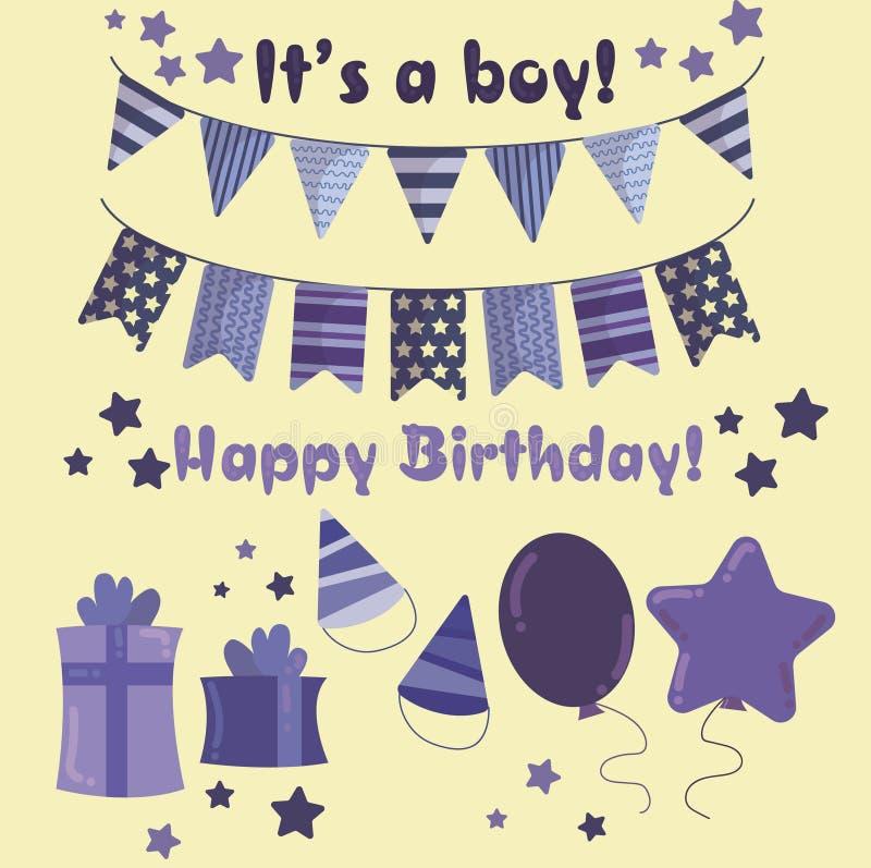 Satz Gegenstände für den Junge ` s Geburtstag vektor abbildung