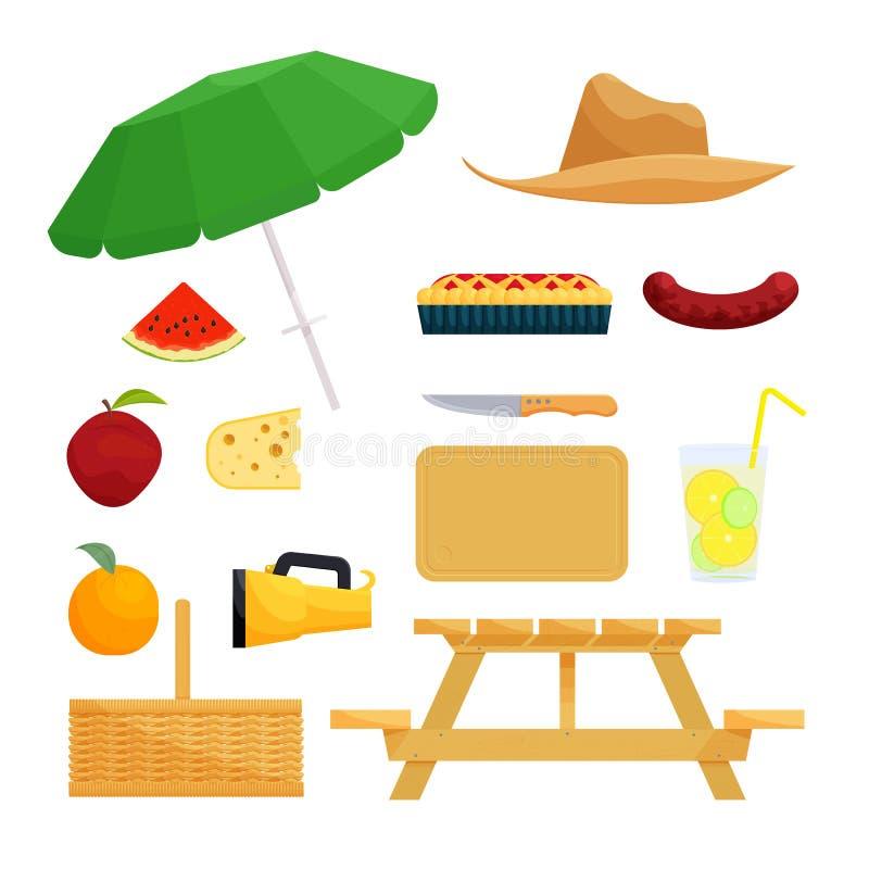 Satz Gegenstände für Picknick lizenzfreie abbildung