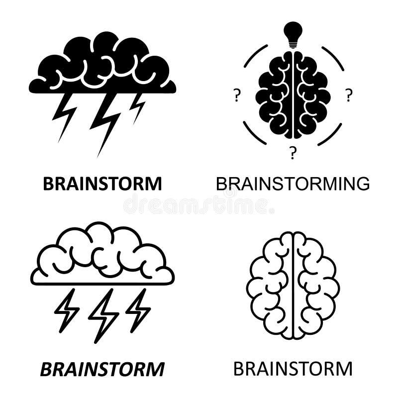 Satz Gehirn, Brainstorming, Idee, Kreativitätslogo und Ikonen Vektor vektor abbildung