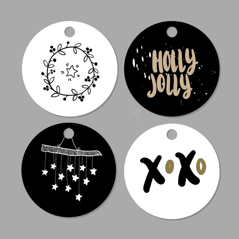Satz Gekritzel Weihnachtsgeschenktags Gezeichnete nette Ikonen des Vektors Hand Skandinavische Art printables Weihnachtsbeschrift vektor abbildung