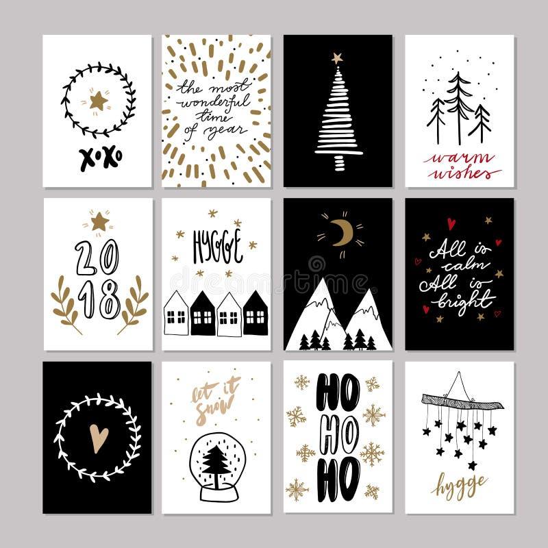 Satz Gekritzel Weihnachtsgrußkarten Gezeichnete nette Ikone des Vektors Hand Skandinavische Art Weihnachtsbaum, Häuser, Girlande lizenzfreie abbildung