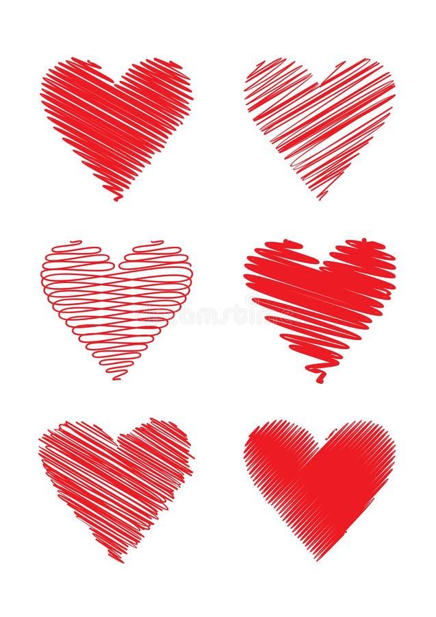Satz gekritzelte Herzen lizenzfreie stockbilder