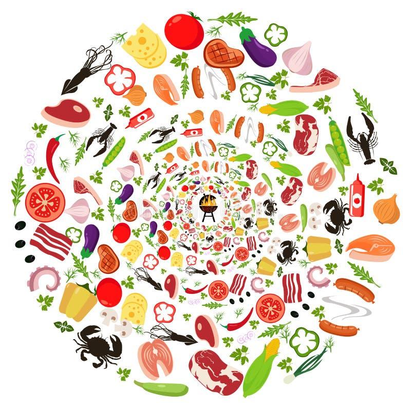 Satz Gemüse für das Grillen lizenzfreie abbildung