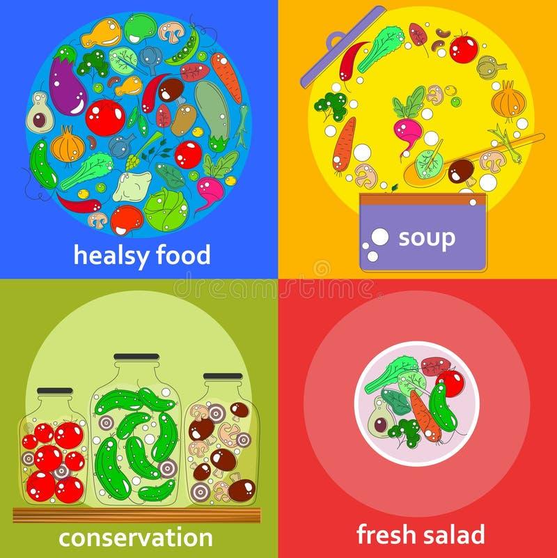 Satz Gemüsekonzeptkarten im Entwurf mit Farbe vektor abbildung