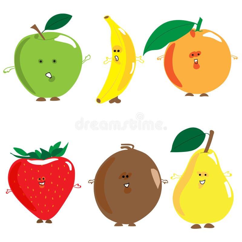 Satz gemalte Früchte vektor abbildung. Illustration von apfel - 70378811