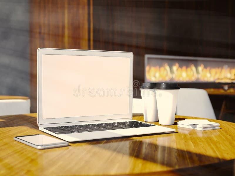 Satz generischer Designlaptop, businesscards, Smartphone und leere coffe Schalen auf dem Tisch im modernen Restaurantinnenraum stockfotos