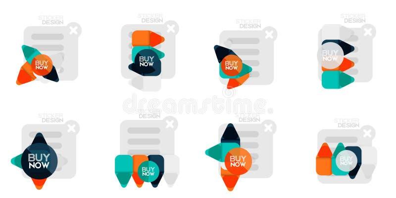 Satz geometrische Aufkleber des flachen Designs und Aufkleber, Preise, Angebotförderungsausweise, Ikone entwirft, Papierart mit K stock abbildung