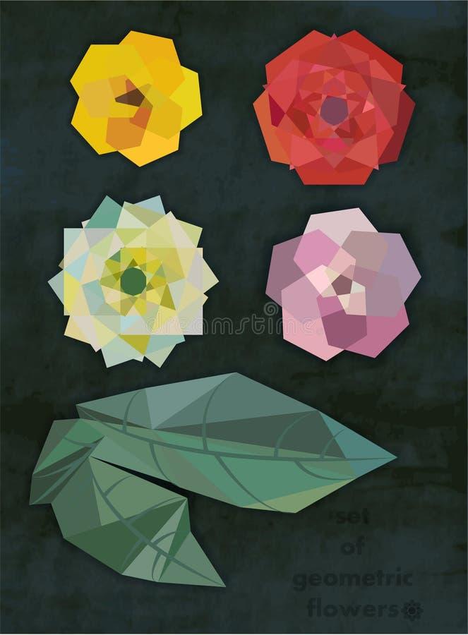 Satz geometrische Blumen mit Blättern stockfoto