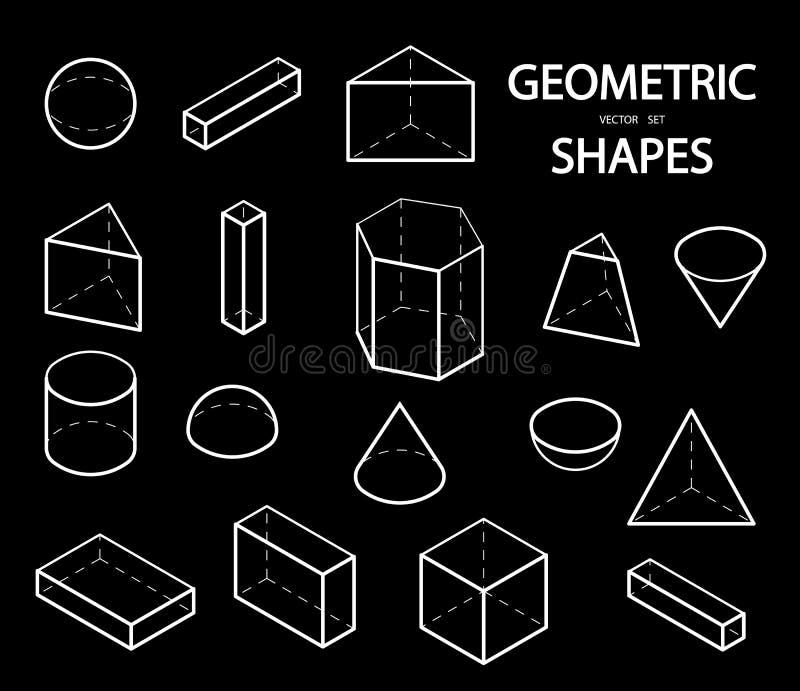 Satz geometrische Formen 3D Isometrische Ansichten Die Wissenschaft von Geometrie und von Mathe Lineare Gegenstände lokalisiert a lizenzfreie abbildung