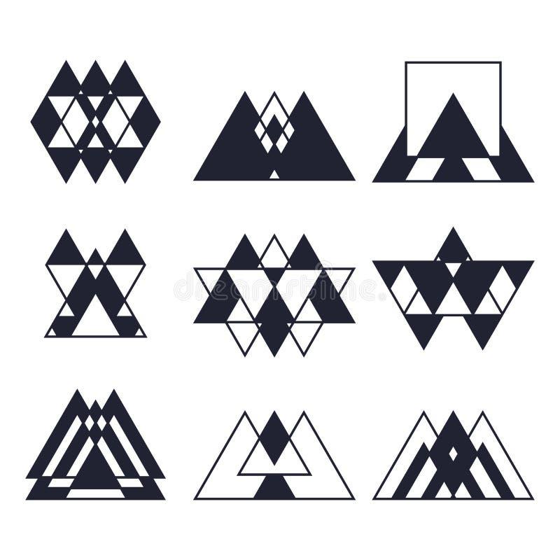 Satz geometrische Formen Modische Ikonen und Firmenzeichen Religion, s stock abbildung