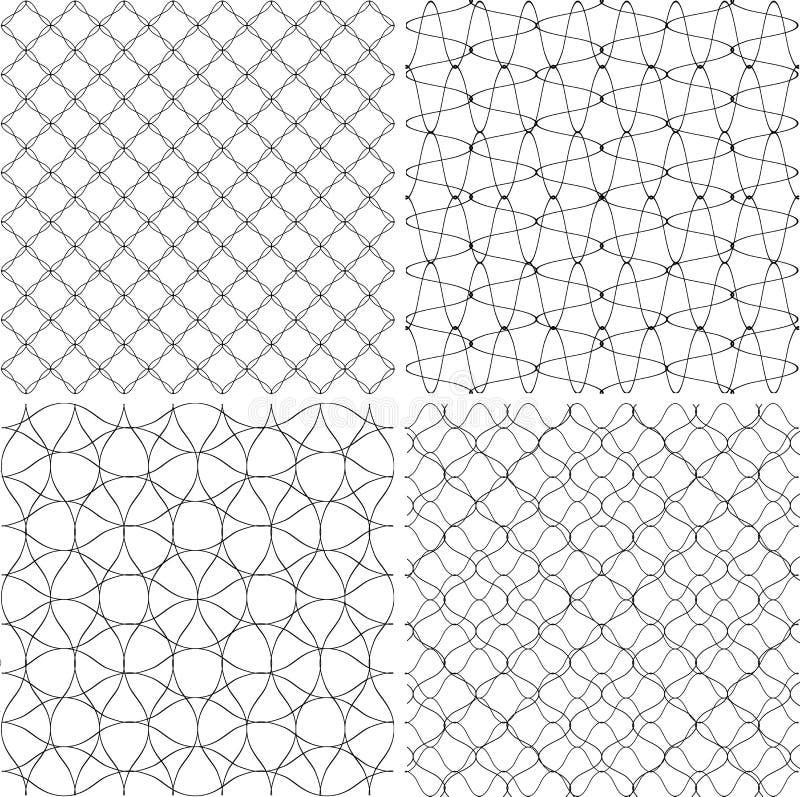 Satz geometrische Hintergründe gezeichnete Linien Beschaffenheit für Druck, Schwarzweiss vektor abbildung