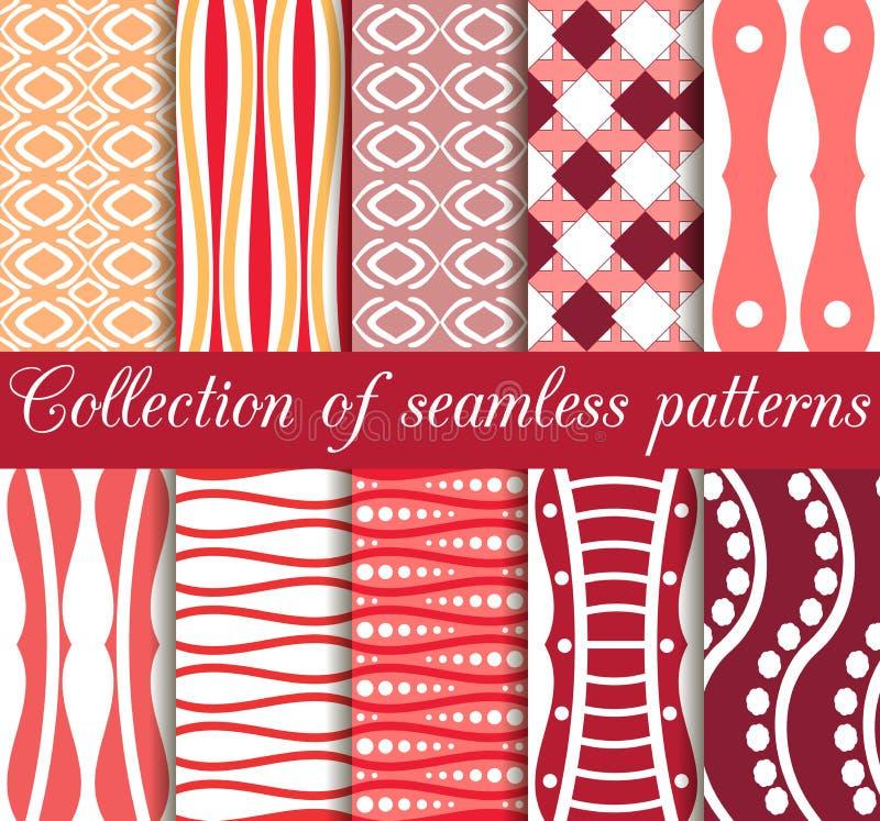 Satz geometrische nahtlose Muster in den Retro- Farben Geometrische Zahlen im Hintergrund lizenzfreie abbildung