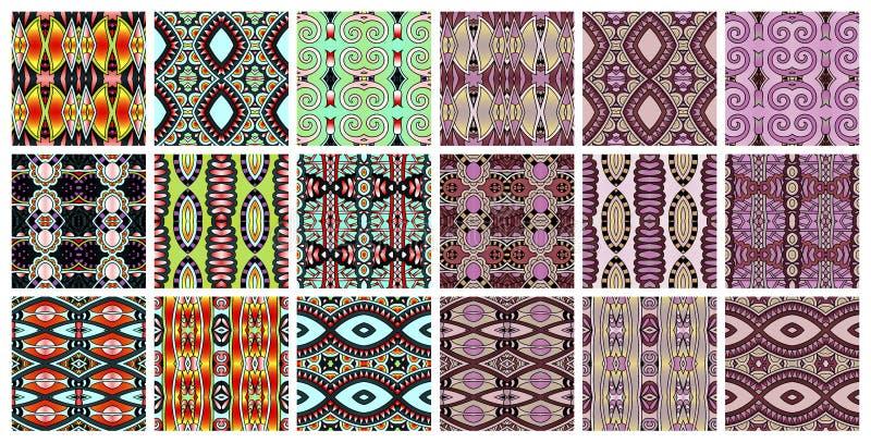 Satz geometrischen nahtlosen Musters 18 in der ethnischen Art lizenzfreie abbildung