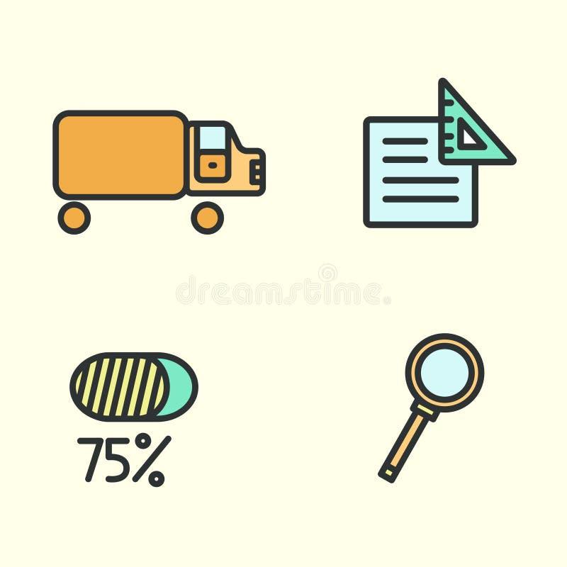 Satz Geschäftsikonen: LKW, Lupe, Papier und Prozente Auch im corel abgehobenen Betrag lizenzfreie abbildung