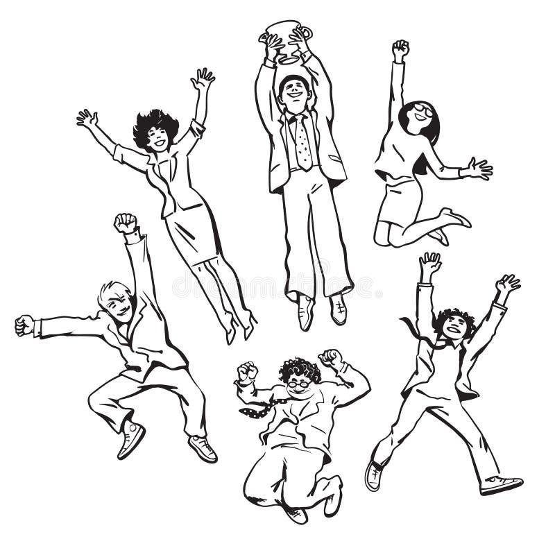Satz Geschäftsleute Männer und Frauen, die für die Freude hält gewinnenden Cup springen Team feiern ihren Erfolg Vektor stock abbildung