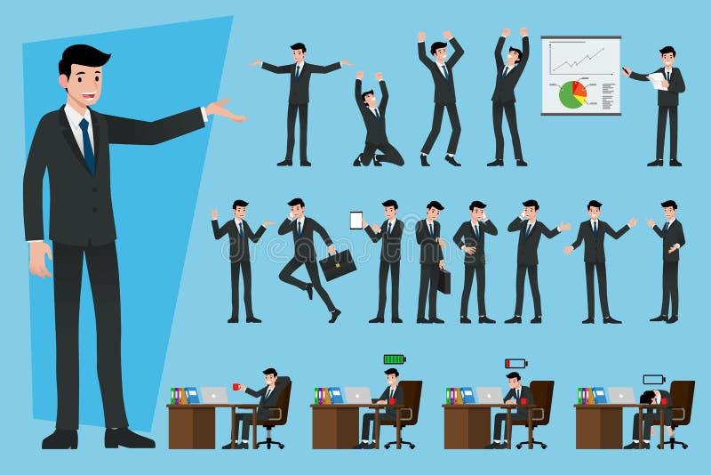 Satz Geschäftsmänner in der unterschiedlichen Art über Arbeitsthema, Einkommen darstellend und erklären die Produkte und besprech lizenzfreie abbildung