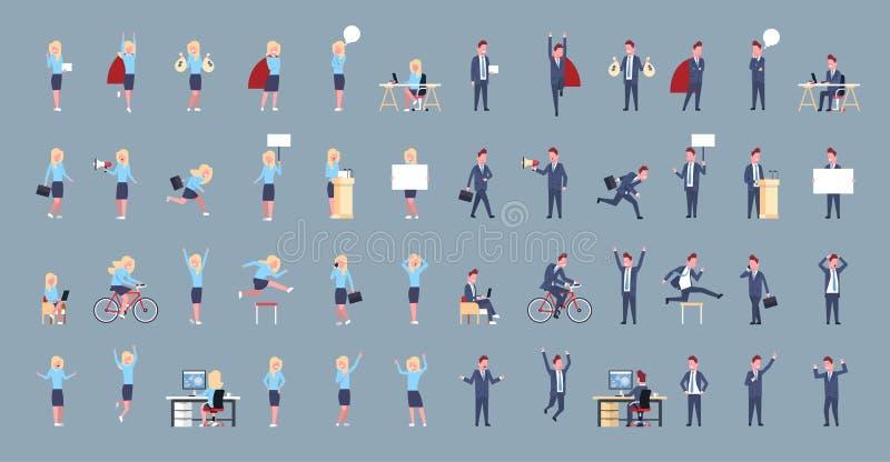 Satz Geschäftsmann-und Frauen-Ikonen-des männlich-weiblichen Büroangestellten, der korporative unterschiedliche Situations-Sammlu lizenzfreie abbildung