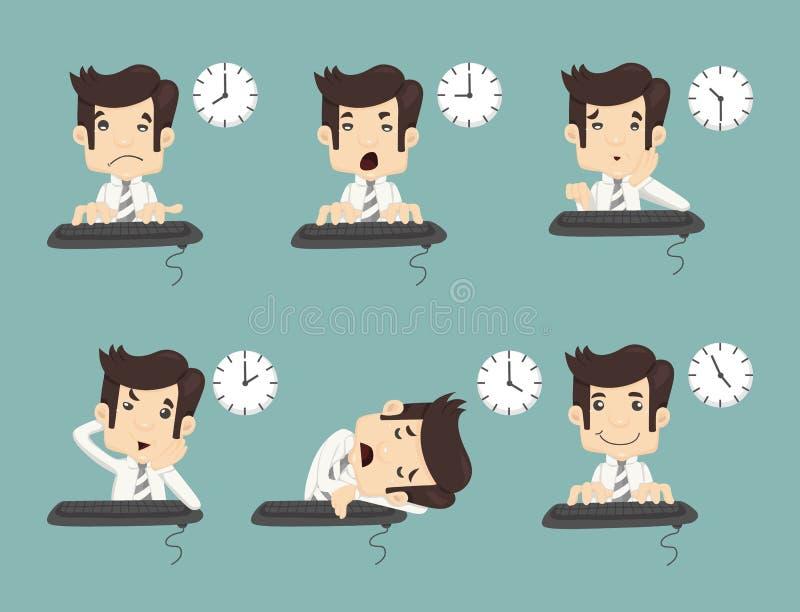 Satz GeschäftsmannArbeitszeit stock abbildung