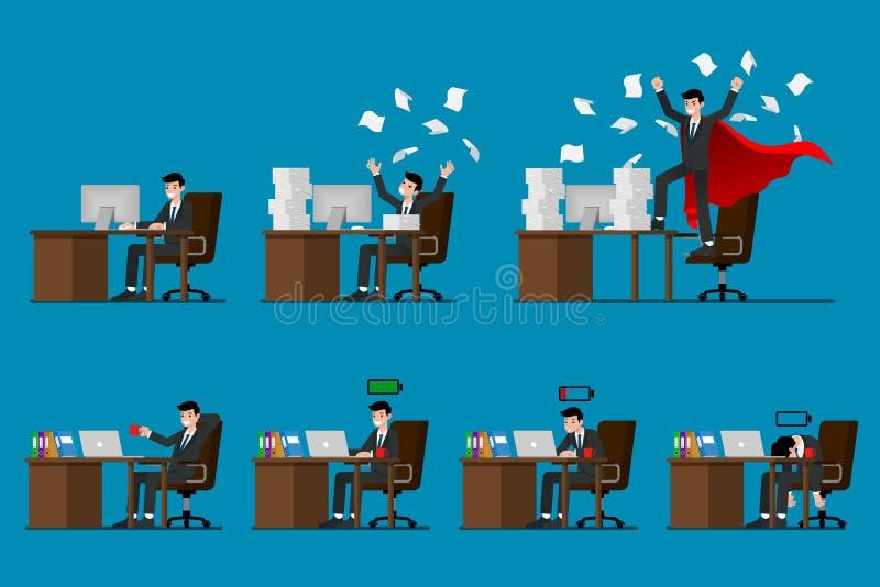 Satz Geschäftsmanncharakterarbeit in seinem Büro mit unterschiedlicher Haltung der Bewegung sieben Getrennt auf blauem Hintergrun lizenzfreie abbildung