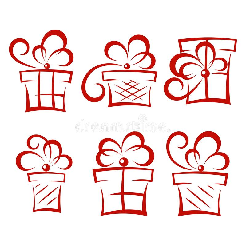 Satz Geschenkboxen lizenzfreie abbildung