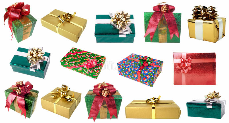 Satz Geschenkboxen verschiedene Farben und in den verschiedenen Winkeln stockfoto