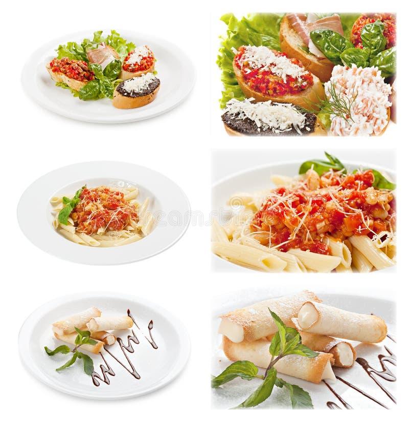 Satz geschmackvolles italienisches Lebensmittel lokalisiert auf weißem Hintergrund lizenzfreie stockfotos