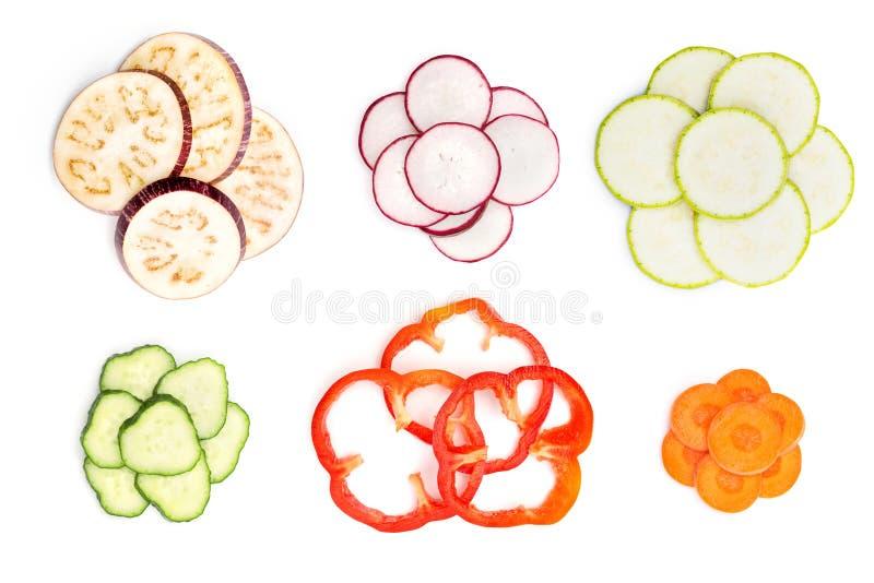 Satz geschnittenes Gemüse stockfotos