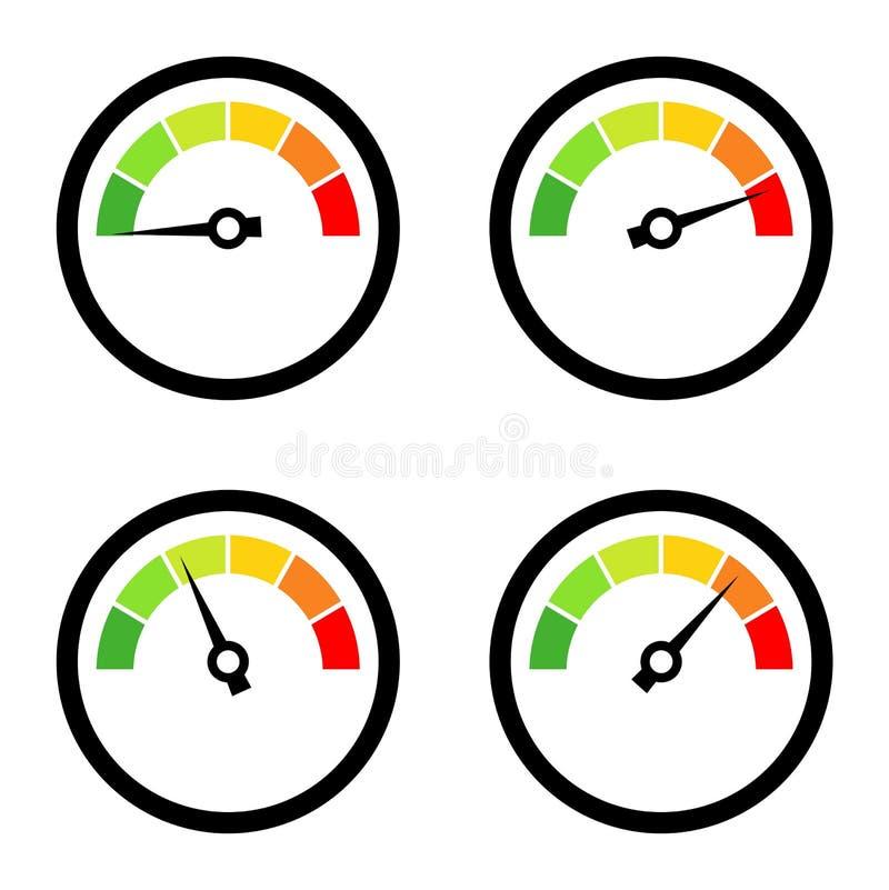 Satz Geschwindigkeitsmesser mit unterschiedlicher Geschwindigkeit lokalisiert auf Weiß lizenzfreie abbildung
