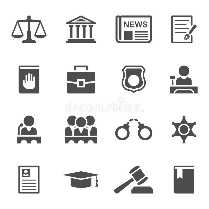 Satz Gesetzes- und Gerechtigkeitsikonen stock abbildung