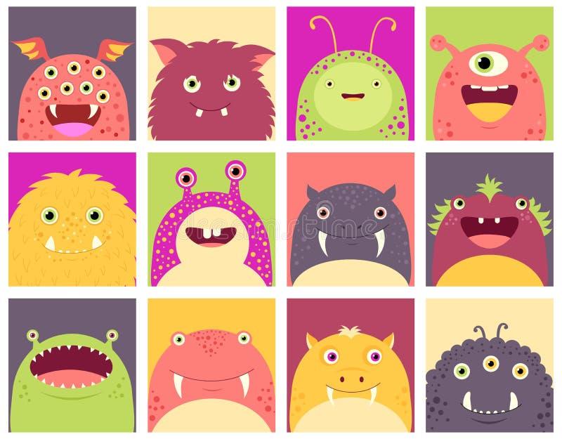Satz Gesichtsavataras mit netten Monstern vektor abbildung