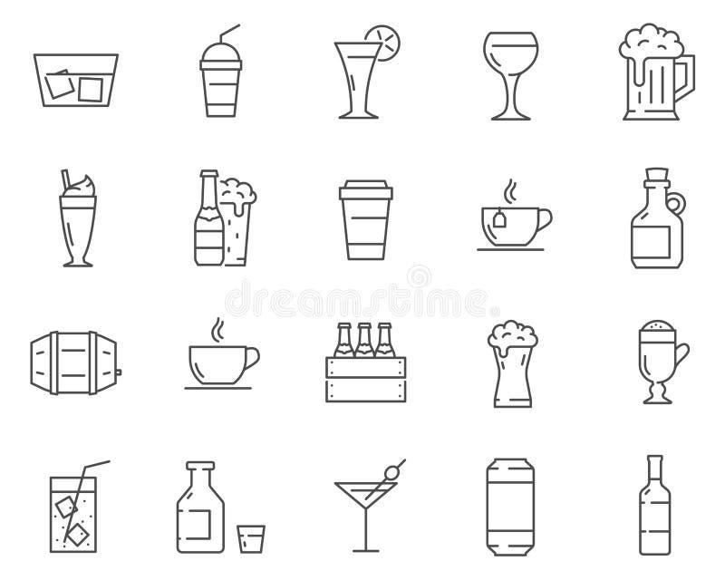 Satz Getränke und Getränke zeichnen Vektorikonen stockfotografie
