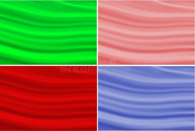 Satz gewellter Hintergrund der Tapete vier masert grüne rote rosa und blaue Farbe stock abbildung