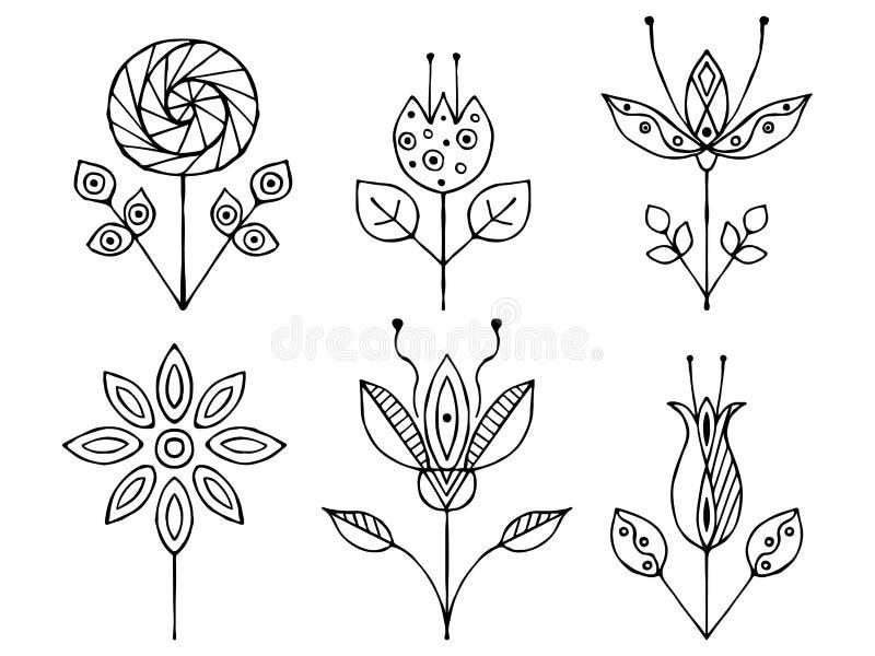 Satz gezeichnete dekorative stilisierte kindische Schwarzweiss-Blumen des Vektors Hand Gekritzelart, grafische Illustration Dekor lizenzfreie abbildung