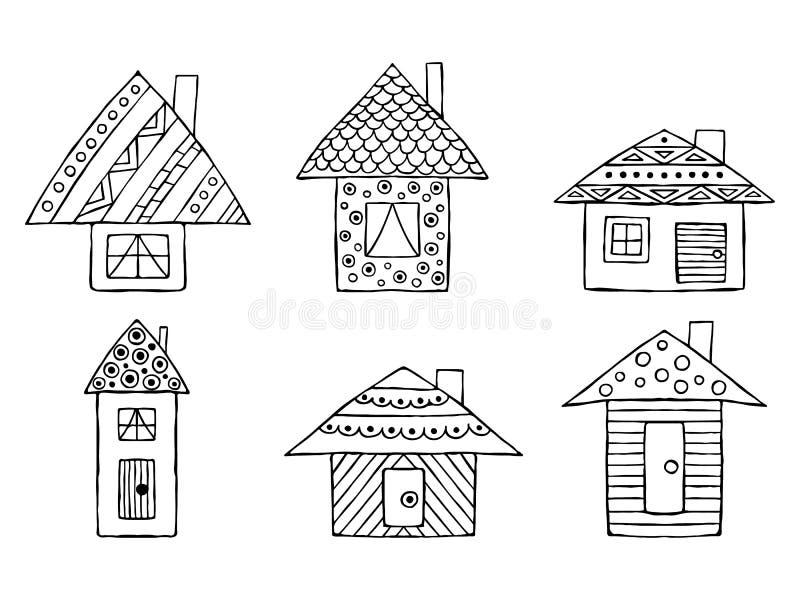 Satz gezeichnete dekorative stilisierte kindische Schwarzweiss-Häuser des Vektors Hand Gekritzelart, grafische Illustration Dekor vektor abbildung