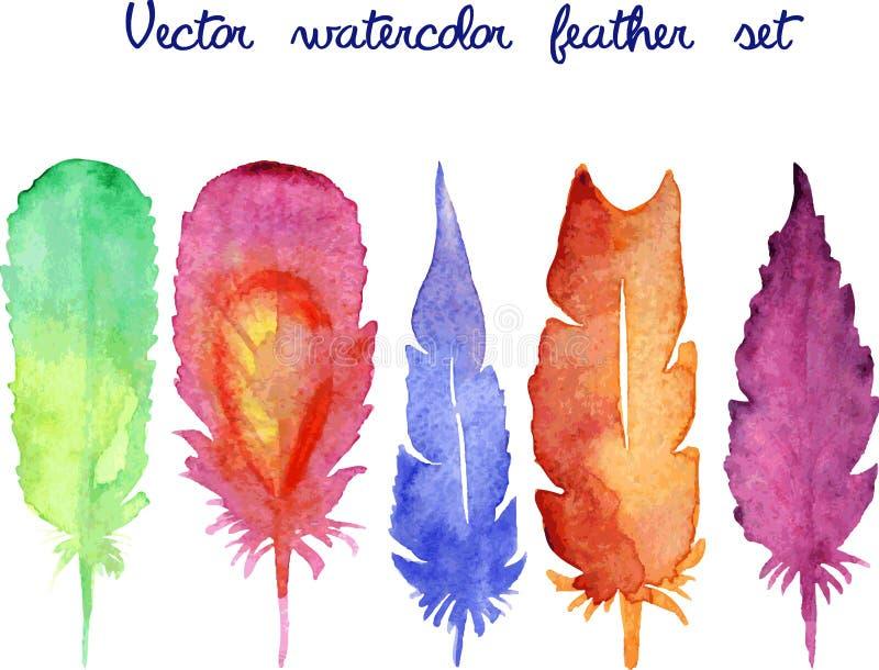 Satz gezeichnete Federn des Vektoraquarells Hand lizenzfreie abbildung
