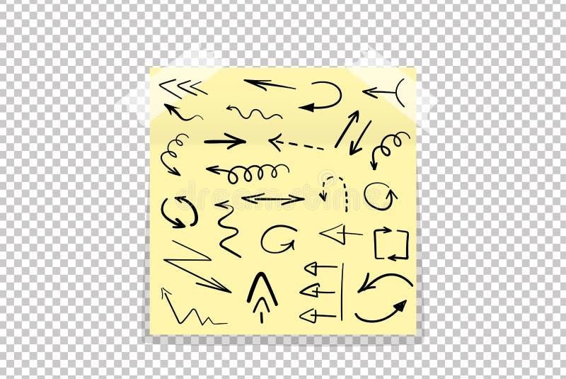 Satz gezeichnete Pfeile des Schmutzes Hand auf gelbem Büropapieraufkleber mit dem Schatten lokalisiert vektor abbildung
