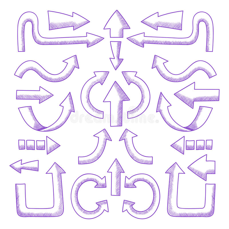 Satz gezeichnete Pfeile des Vektors Hand vektor abbildung