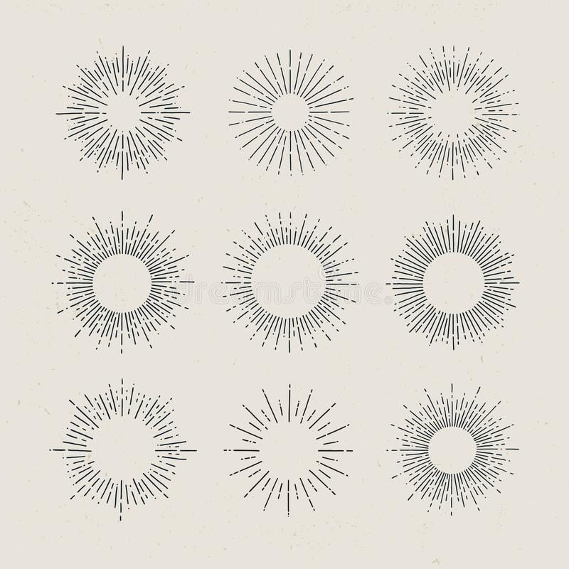 Satz gezeichnete Sonnendurchbrüche der Weinlese Hand auf dunklem Hintergrund vektor abbildung
