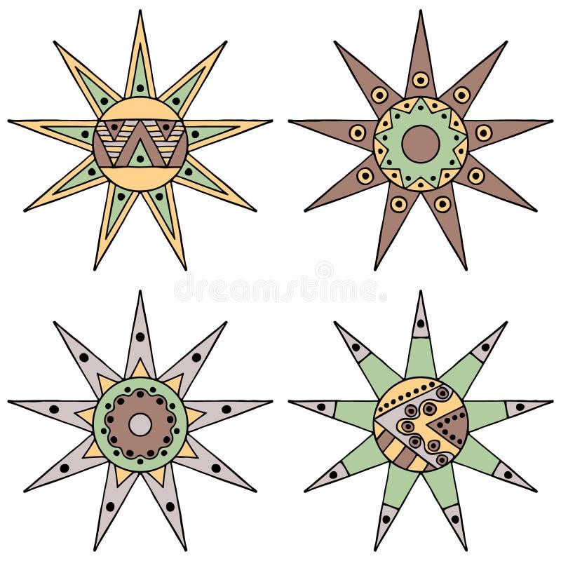 Satz gezeichneten des dekorativen stilisierten kindischen Stammes- Sonne Weinlese-Brauns des Vektors der Hand mit Lichtern Gekrit vektor abbildung