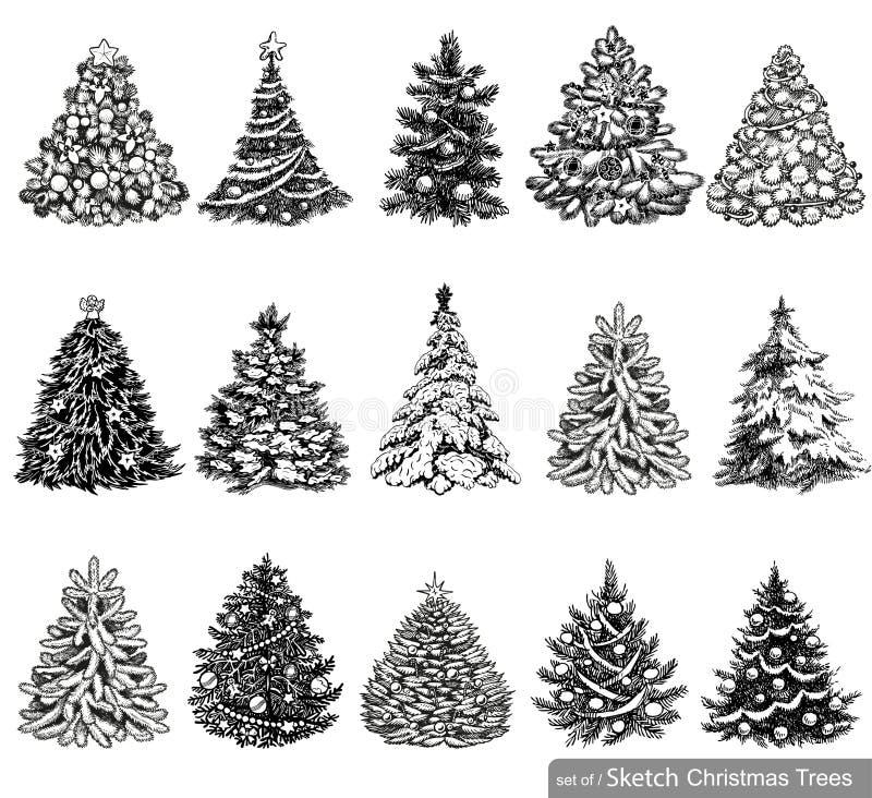 Satz gezogene Weihnachtsbäume lizenzfreie abbildung