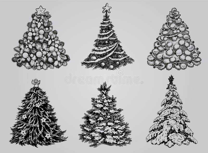Satz gezogene Weihnachtsbäume vektor abbildung