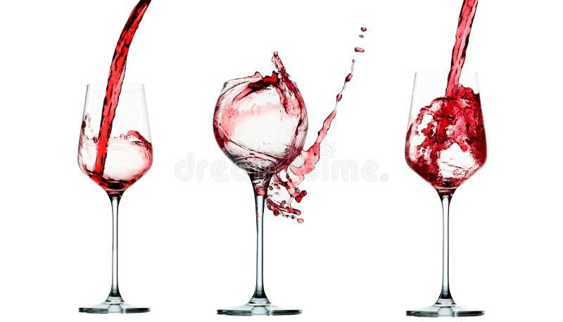 Satz Gießen des Rotweins im Glasbecher lokalisiert auf Weiß lizenzfreies stockbild