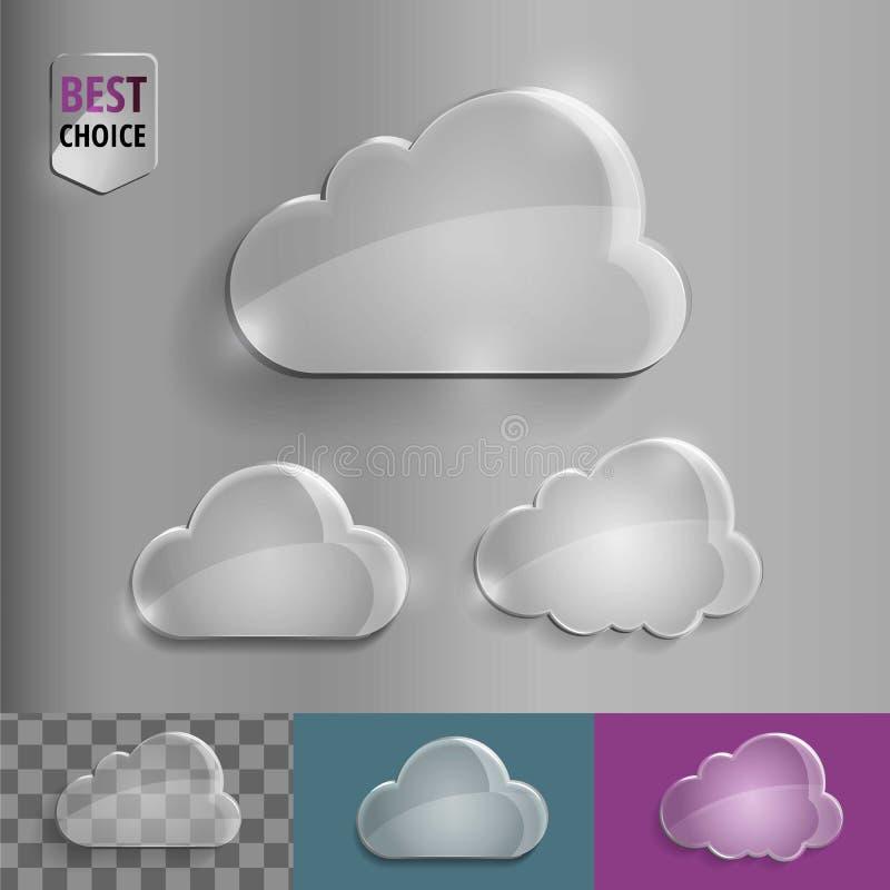 Satz glänzende Glasblasenwolkenikonen mit weichem Schatten auf Steigungshintergrund Vektorillustration ENV 10 für Netz lizenzfreie abbildung