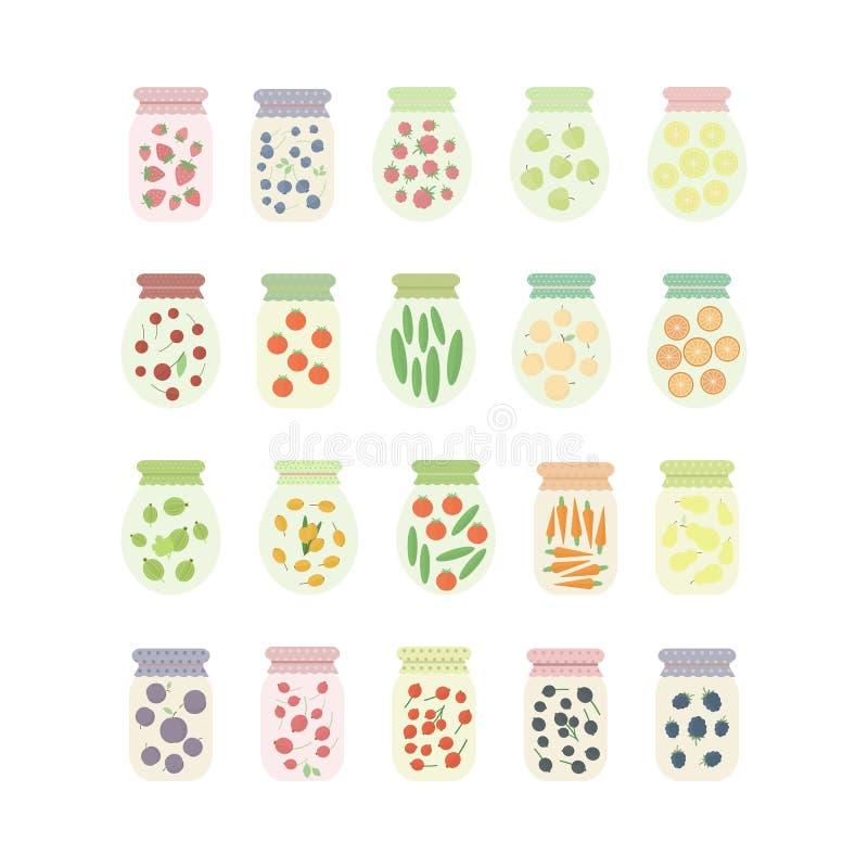 Satz Gläser mit Früchten, Beeren und Gemüse lizenzfreie abbildung