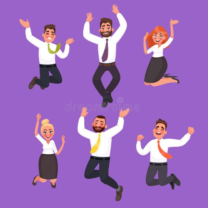Satz glückliche Geschäftsleute Springen Büroangestellte feiern t lizenzfreie abbildung