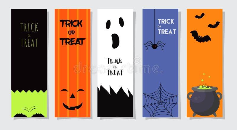 Satz glückliche Halloween-Gruß-Karten oder Flieger Auch im corel abgehobenen Betrag Partei-Einladungs-Design mit Emblem vektor abbildung