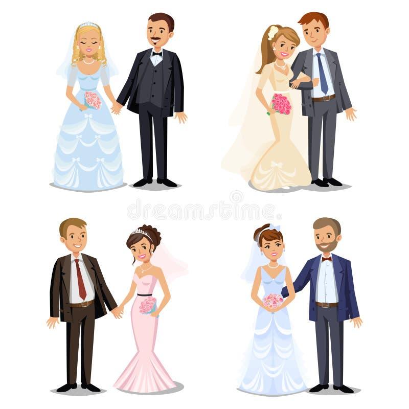 Satz glückliche Hochzeitspaare Verschiedene Arten, die Paare heiraten vektor abbildung