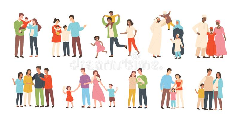 Satz glückliche traditionelle heterosexuelle Familien mit Kindern Lächelnde Mutter, Vater und Kinder Nette Zeichentrickfilm-Figur vektor abbildung