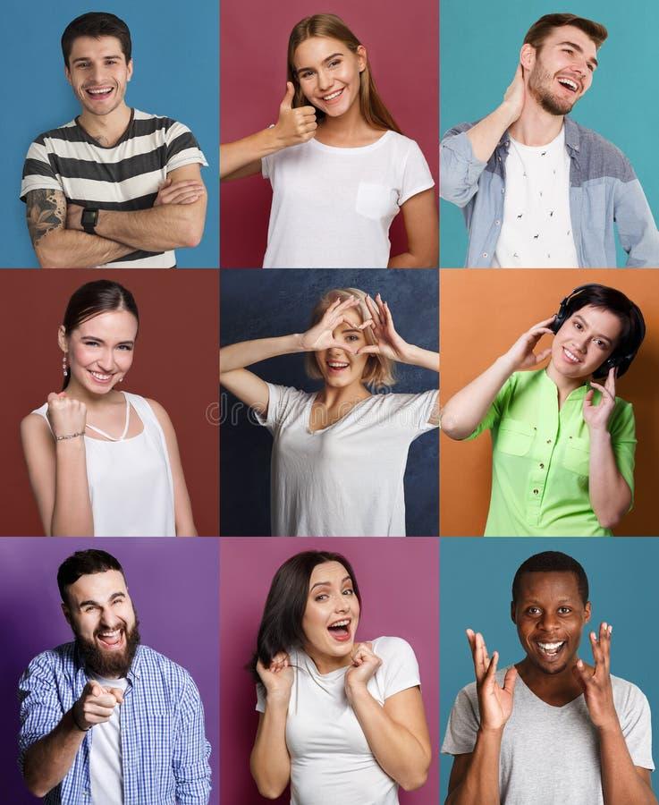 Satz glückliche verschiedene Leute an den Studiohintergründen lizenzfreie stockfotos